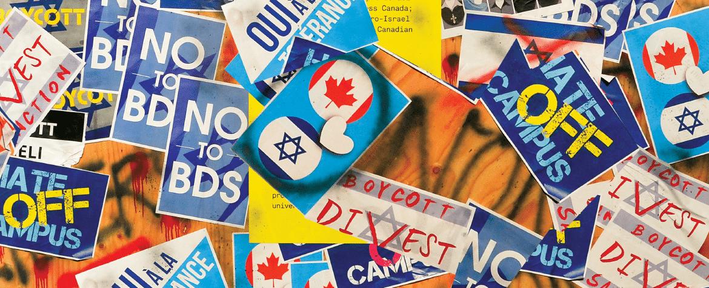 Nombreuses affiches colorées sur Israël, le Canada et anti-BDS sur un mur de bois avec des graffitis